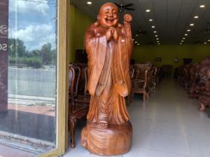 Tượng di lạc chúc phúc gỗ hương cao 1,76m nguyên khối