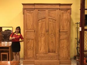 Tủ quần áo thông minh 3 buồng 4 cánh gỗ gõ đỏ cao cấp