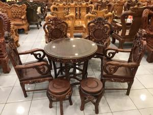 Bộ bàn ghế gỗ cẩm lai Việt Nam kiểu nho trúc độc đáo