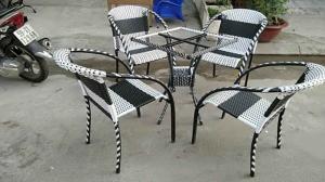 Bộ bàn ghế cafe nhựa giả mây giá rẻ
