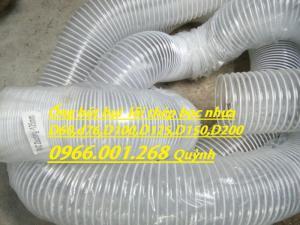 Ống gió bụi trắng, ống hút bụi lõi thép bọc nhựa PVC phi 75,phi 100,phi 125,phi 150,phi 200