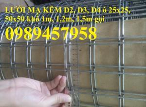 Lưới nhúng kẽm ô 25x25, 50x50, 50x100, 100x100 lưới hàn mạ kẽm