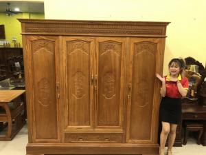 Tủ quần áo gỗ gõ đỏ 100% 3 buồng giá tốt tại quận 7