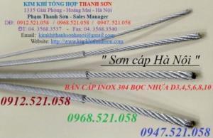 Cáp Inox 304 bọc nhựa 3 ly – 4 ly – 6 ly – 8 ly – 10 ly, giá rẻ.