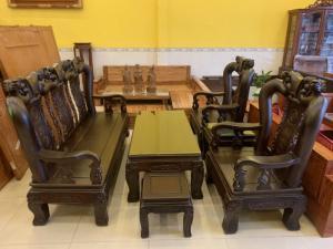 Bộ bàn ghế cột 12 gỗ chiu iu chạm đào phong thủy