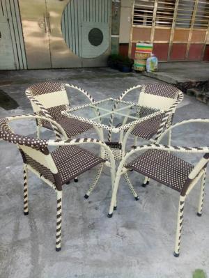 Bàn ghế  cafe mây nhựa sân vườn