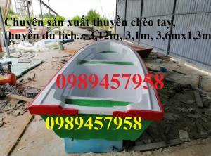 Thuyền nhựa chèo tay 3m, thuyền có gắn động cơ
