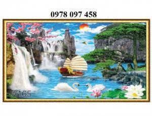 Tranh thuyền buồm - tranh gạch 3D trang trí