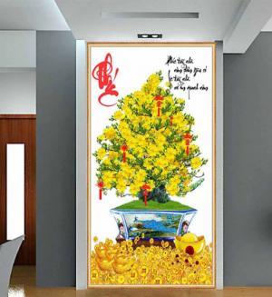 Tranh 3d cây mai - gạch tranh cây mai 3d - DK64