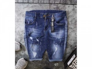 Quần short jeans nam cao cấp rách chấmbi