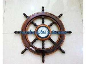 Vô Lăng Tàu Gỗ (Bánh Lái Tàu) Có Đồng Hồ | Gỗ Cẩm Lai | Đường Kính 40cm