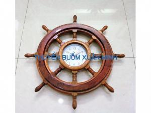 Vô Lăng Tàu Gỗ (Bánh Lái Tàu) Có Đồng Hồ | Gỗ Cẩm Lai | Đường Kính 50cm