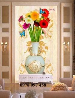 Tranh gạch men 3D - tranh bình hoa