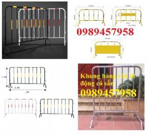 Hàng rào di động mạ kẽm, Hàng rào chắn sơn mầu 1x2m, 1,5mx2m 1,2mx2,5m