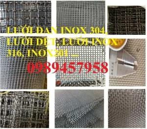 Lưới Inox đan ô 3x3, 5x5, 10x10, 12x12, 20x20, 30x30, 50x50 INOX 304, Inox 201, Inox 316