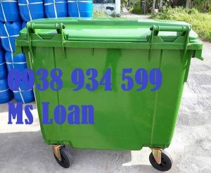 Xe đẩy rác 660 lít, xe thu gom rác 660 lít 4 bánh xe nhựa hpde giá rẻ