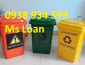 Thùng rác 60 lít nắp kín, thùng rác nhựa 60 lít giả rẻ