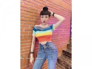 Áo len nữ croptop Quảng Châu sắc màu cầu