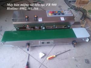 Máy hàn miệng túi dạng băng tải, máy hàn miệng túi liên tục có indate FRD1000