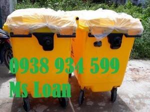 Thùng rác nhựa 660 lít, xe thu gom rác nhựa 660 lít