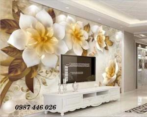 Gạch tranh hoa 3d, tranh ốp tường trang trí đẹp