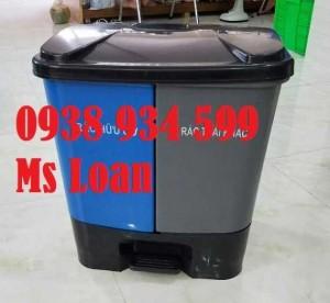 Thùng rác 2 ngăn đạp chân 40 lít, thùng phân loại rác 2 ngăn đạp chân
