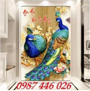Tranh chim công, tranh gạch ốp tường
