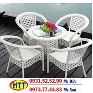 Bàn ghế cafe nhựa giả mây giá rẻ tại hcm HTT1221