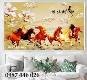 Tranh ngựa phong thủy, gạch tranh 3d ốp tường HP727
