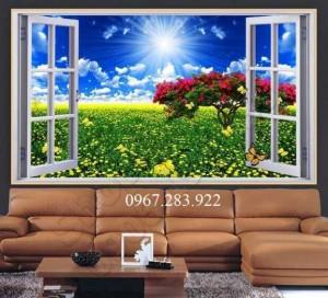 Tranh gạch- Tranh phong cảnh cửa sổ 3D