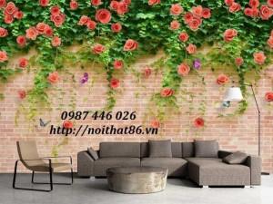 Gạch tranh hoa hồng leo, tranh hoa hồng dây 3d