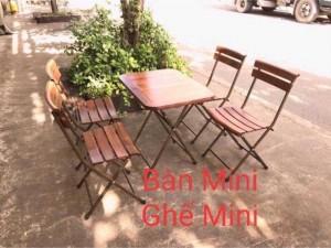 Bộ bàn ghế caffe khung sắt mặt gỗ giá tốt- nội thất Nguyễn Hoàng