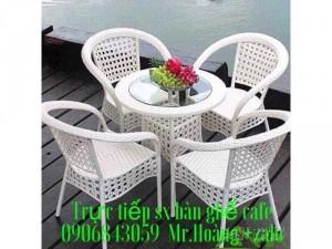 Bàn ghế cafe nhựa giả mây giá gốc - nội thất Nguyễn hoàng