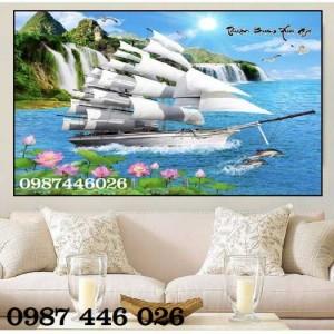 Tranh gạch thuyền buồm, tranh ốp tường 3d