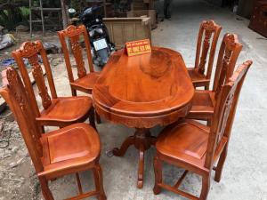 Bộ bàn ghế phòng ăn cây đàn gỗ gõ đỏ
