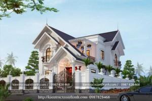 Thiết kế biệt thự 2 tầng mái thái siêu đẹp BT18296
