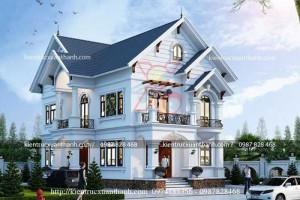 Thiết kế biệt thự 2 tầng mái thái tân cổ đẹp BT18330