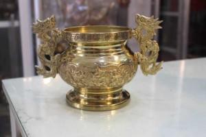 Lư quai thờ cúng bằng đồng cao 14cm