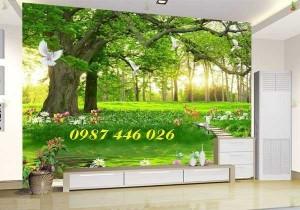 Tranh gạch men cây xanh cổ thụ