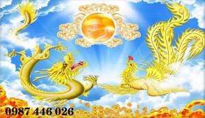 Tranh gạch men Rồng Phụng Vàng HP8194