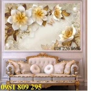 Gạch tranh 3d hoa ngọc - tranh 3d hoa trang sức sang trọng