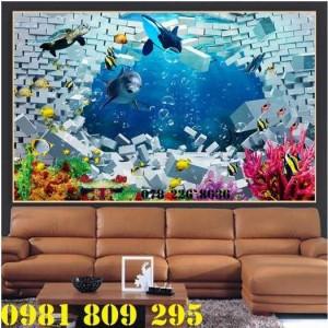 Gạch tranh cá heo đại dương - tranh gạch 3d ốp tường