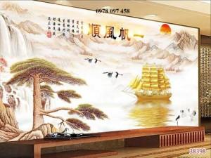Gạch tranh - tranh thuyền buồm căng gió