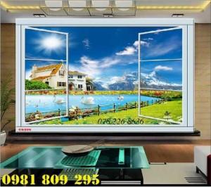 Gạch tranh 3d phong cảnh cửa sổ