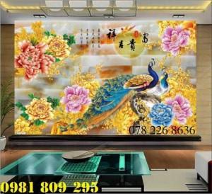 Tranh gạch men - tranh gạch 3d chim công