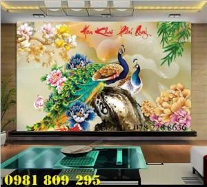 Gạch tranh 3d - tranh gạch 3d chim công phu thê viên mãn