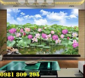 Gạch tranh 3d ốp tường hoa sen - tranh 3d hồ sen