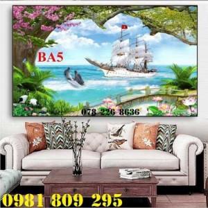 Gạch tranh 3d thuyền buồm - tranh 3d phong thủy