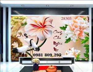 Tranh 3d chim hạc - mẫu tranh gạch 3d sứ ngọc