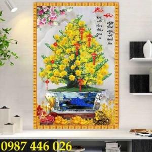 Tranh gạch men hoa mai 3d HP0282